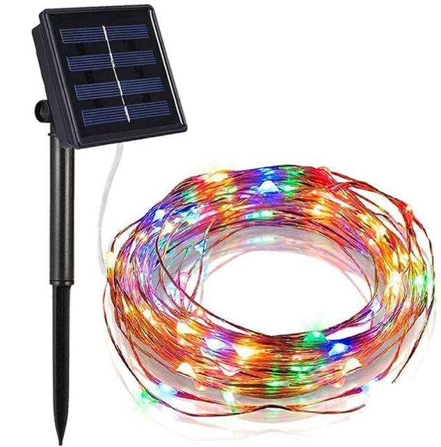 solar fairy light copper wire outdoor festival christmas light
